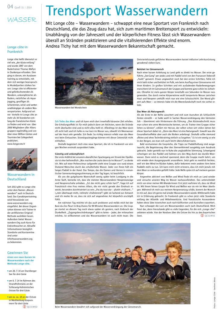 Pressebericht zu Wasserwandern aus der Quell